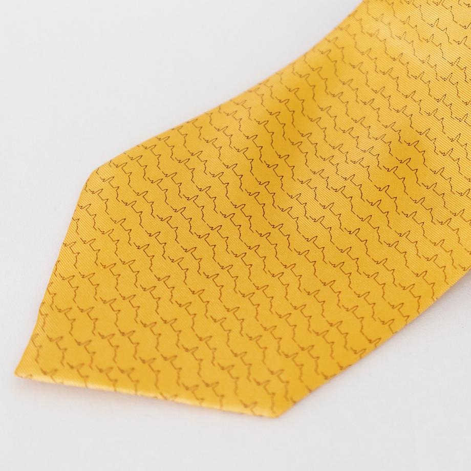 Corbata Seda Mostaza Estampada