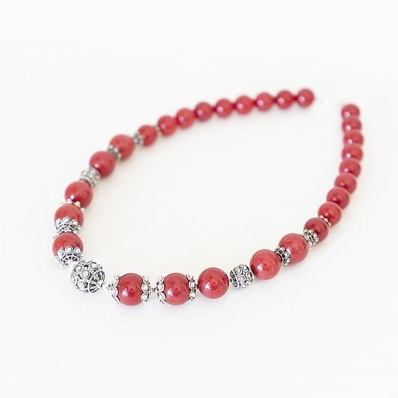Gargantilla Plata Charra Jade rojo (414JR)