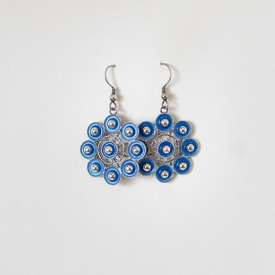 Pendiente Plata Charra Botón Azul (1213)