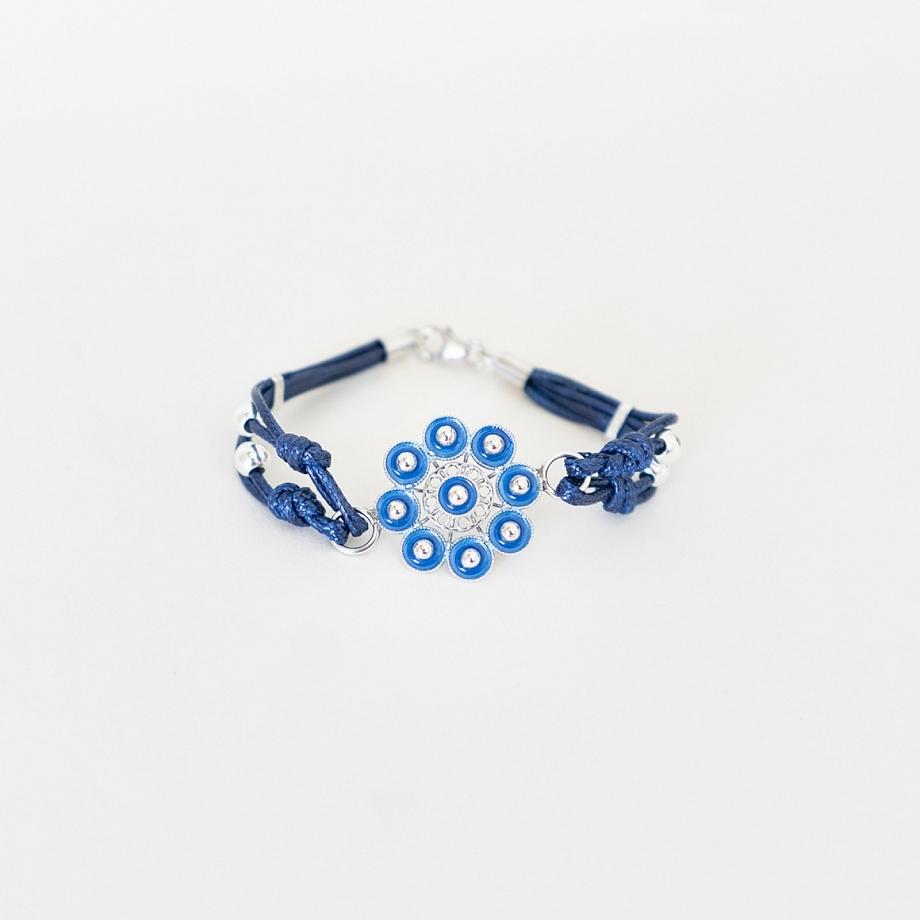 Pulsera botón charro azul (1216)